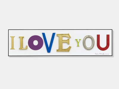 I Love You (in homage to Jack Pierson), 2013  By Peter Blake