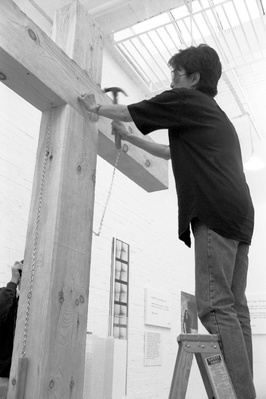 Yoko Ono, installing 'In Facing' exhibition at Riverside Stu...