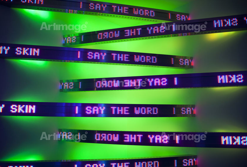Enlarged version of New Corner, 2011 (detail). (Installation view, Jenny Holzer, Kukje Gallery, Seoul, 2011. Text: Arno, 1996)