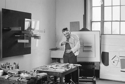 Victor at work in his studio, 1965