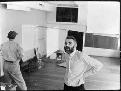 Photo of Victor Pasmore and Richard Hamilton installing 'an ...