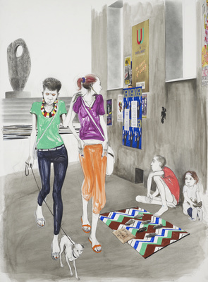 Untitled (Two Girls and Beggars), 2014