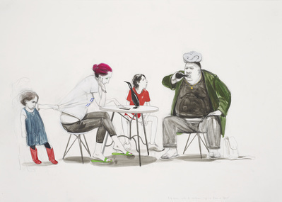 Untitled (Table and Three Diners), 2014