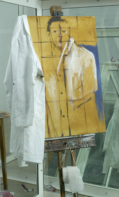 Contemplating a Self Portrait as a Pharmacist, 1998 (detail)