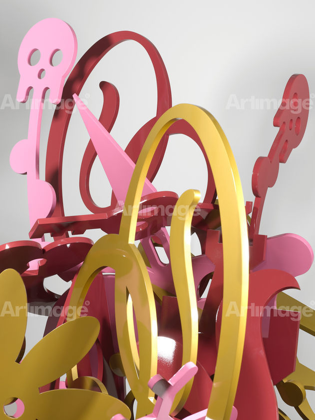 Mindscape Sculptures, Red-Gold-Pink Sculpture, 2008 (detail)