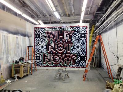 'Why not now', in progress, Toronto, 2012 By Mark Titchner