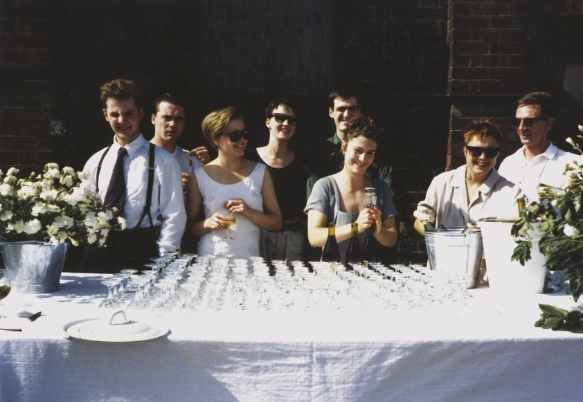 Just prior to Freeze private view. Left to Right: Ian Davenport, Damien Hirst, Angela Bulloch, Fiona Rae, Stephen Park, Anya Gallaccio, Sarah Lucas and Gary Hume. August 1988