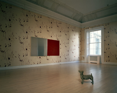 Bloody Wallpaper with Concrete Dog and Ink Pad (red), 1995