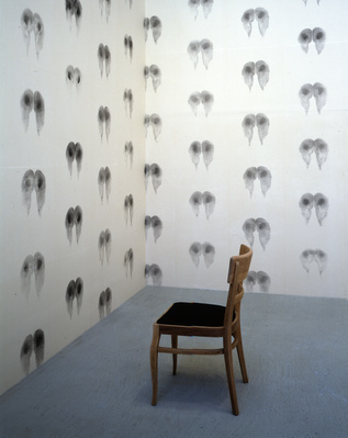 Bottom Walllpaper (Black), Inked Chairs, 1992-97 By Abigail Lane
