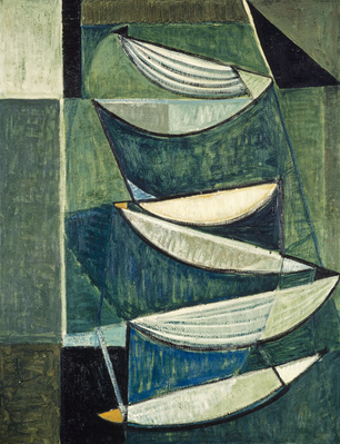 Black and White Movement on Blue and Green II, 1951-52 By Terry Frost