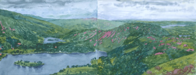 Grassmere with Rydal Water and Windermere from Silver Howe, ...