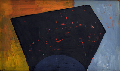 Black Form on Orange and Blue, 1953