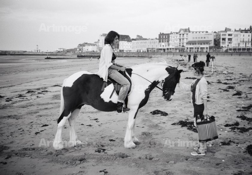 Enlarged version of Tracey Emin with Abigail Lane while making Riding for a Fall, Margate, 1998