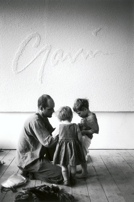 Gavin Turk with children Frances and Curtis, Studio, London,...