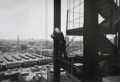 Steel worker & Spittlefields Market, Broadgate, London, 1989