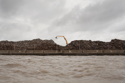 Recycling Scrap Metal, Bootle Docks from Mersey, 2010 By John Davies