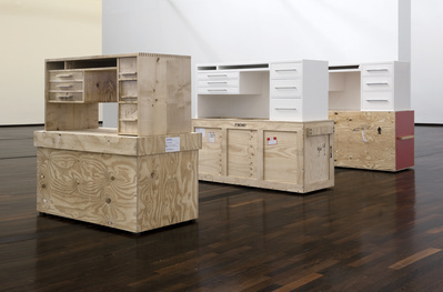 Three White Desks (2008-2009) By Simon Starling