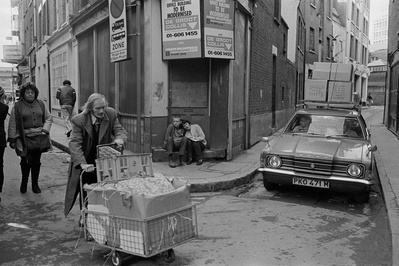 Junction of Widegate Street and Sandy's Row, 1979. Eastender...