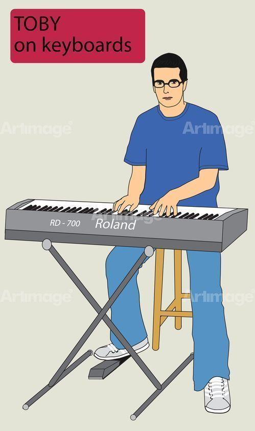 Enlarged version of Going South Toby on keyboards, 2003