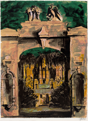 Harlaxton through the Gate, 1977 By John Piper