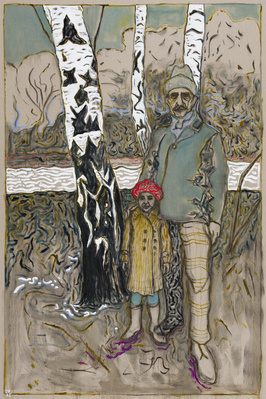three birch trees, 2015 By Billy Childish