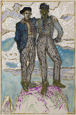 father and son stood on a rock, 2014 By Billy Childish