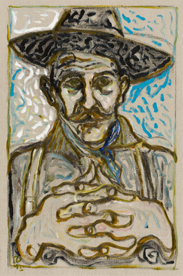 self portrait in hat (version), 2015 By Billy Childish