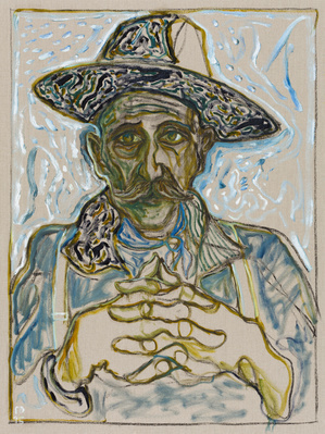 self portrait in hat, 2015 By Billy Childish
