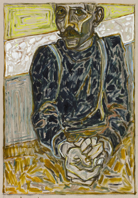 self portrait with hands, 2016 By Billy Childish