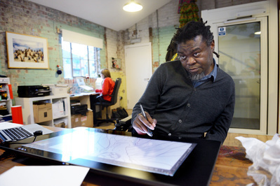 Yinka Shonibare, studio, London, 2015
