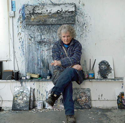 Maggi Hambling, studio, Suffolk, 2014