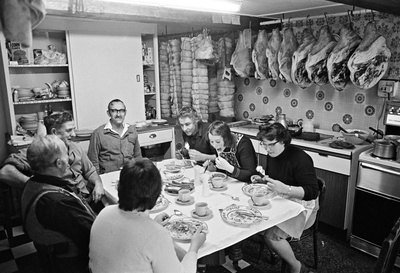 Pig killing: Cyril Richardson and family, lunch following th... By Daniel Meadows