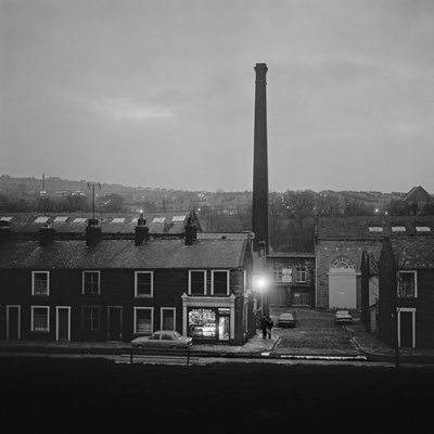 North of England: Corner shop, twilight, Nelson, Lancashire,...