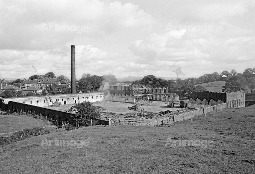 Bancroft Shed, Barnoldswick, Lancashire, during demolition, 1980