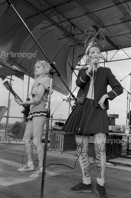 "alt=""Ari Up, vocals and Viv Albertine, guitar. The Slits, Alexandra Palace, London, 15 June 1980"""