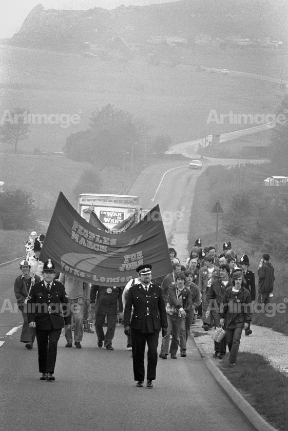 "alt=""Marching from Chesterfield to Mansfield,  People's March for Jobs, 12 May 1981"""