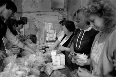 Miners wives and members of womens support groups make up fo...