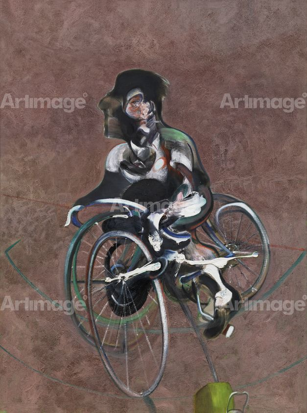 Enlarged version of Portrait of George Dyer Riding a Bicycle, 1966