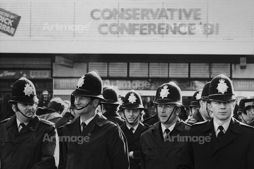 Police at Conservative Party Conference, Blackpool, October 1981