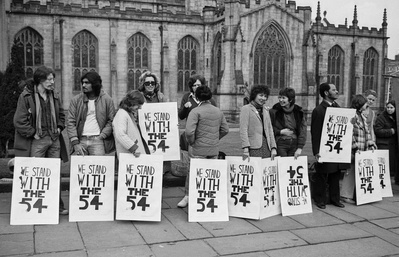 Anti Apartheid Movement vigil outside Sheffield Cathedral in...