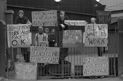 Factory occupation in a protest against proposed redundancie... By Martin Jenkinson