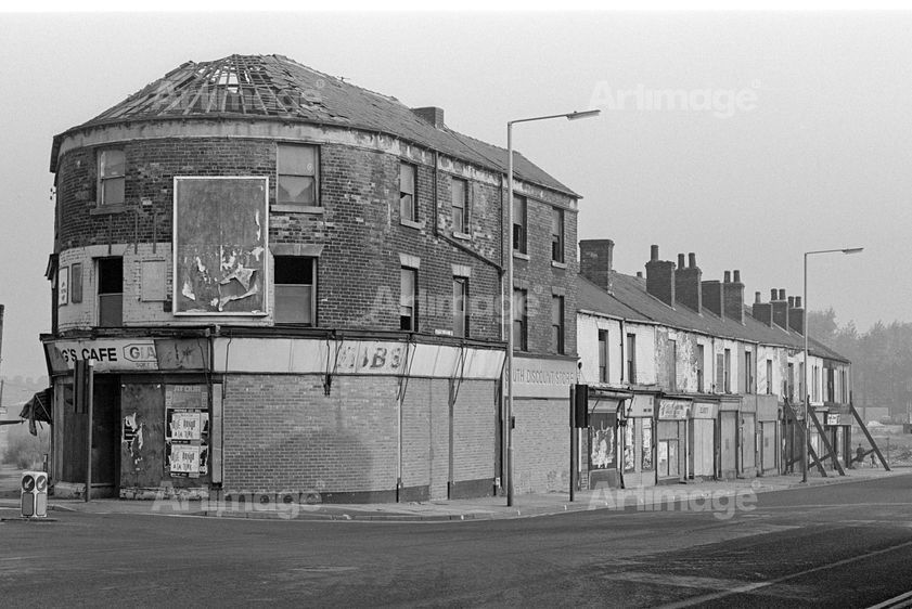 Enlarged version of Boarded up shops on Attercliffe Road, Sheffield, September 1982