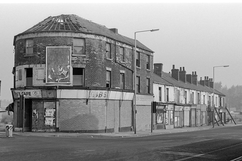 Boarded up shops on Attercliffe Road, Sheffield, September 1982