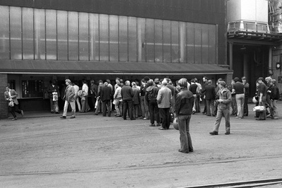 Queueing to clock off at Firth Brown Steels, Sheffield, Sept...