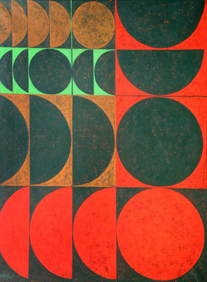 Composition in Red, Green and Yellow Ochre, 1963 By Anwar Jalal Shemza