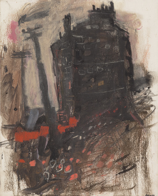 Gable End of a Tenement and Telegraph Poles, [Date unknown] By Joan Eardley