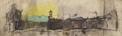 Yellow Sky and Gas Lamps, [Date unknown]