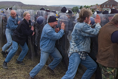 Jeremy Deller's re-enactment of the Battle of Orgreave, 17 J...