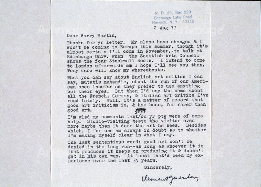 A Letter to the Artist from American Art Critic Clement Greenberg, 1977