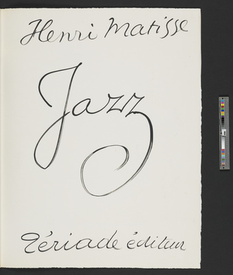 Title page of the 1947 illustrated book 'Jazz', 1947